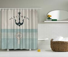 Nautical Ocean Lover Anchor Sea Beach Fabric Shower Curtain Digital Art Bathroom