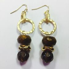 CHICO'S VINTAGE EARRINGS ~ NEW OLD STOCK ~ GOLD METAL BRONZE FAUX AMBER 2/12""