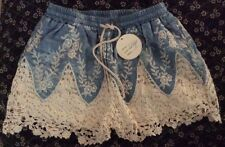 Chambray Crochet Lace Denim Jean Shorts Lined Hot Pants Mini Drawstring Waist L