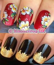 NAIL ART SET #237 WHITE/LEMON FLOWERS WATER TRANSFERS/DECAL/STICKERS & GOLD LEAF