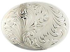 "Oval Western Pleasure Handmade Engraved German Silver Show Belt Buckle 4 1/4""x3"""