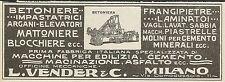W5329 Macchine per edilizia L. VENDER & C. - Pubblicità 1925 - Advertising