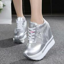 Womens High Platform Wedge Sneakers Flat heels Casual shoes Outdoor  Sliver US 7