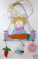 HAPPY EASTER BUNNY WELCOME HANGING PLAQUE BLUE JEANS HOME DECOR CARROT TULIP