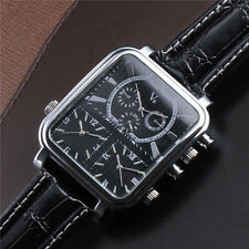 Army V6 Cool Sports Mens Three Time Zones Black Leather Strap Quartz Wrist Watch