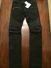 BALMAIN Men's Leather Knee Biker Jeans Size 28