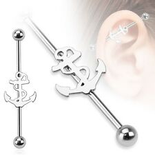 ANCHOR Logo Stainless Industrial Bar Scaffold Ear Barbell Rings PIERCING JEWELRY