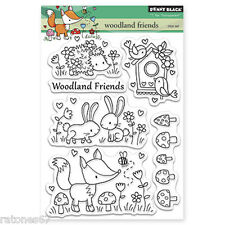 New Penny Black WOODLAND FRIENDS Clear Stamp Set Friends Cirtters Flowers Bunny