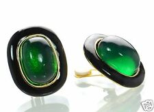 Kenneth J Lane Green Lucite Cabochon Clip-on Earrings