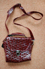 NEW Maroon Red Cherry Motif Small Satchel Style Hand bag Faux leather 7.5x7.5x2