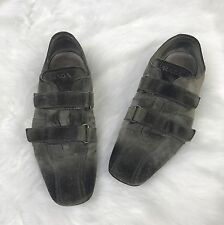 Prada Men's Suede Shoes 8 Burnished Taupe Brown Double Velcro Square Toe Italy