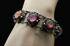 Antique Sterling Silver Dragons Breath Cabochon Bracelet, circa 1930's - 40's