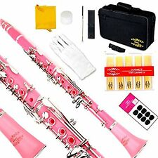 Clarinet (Bb) w/2nd Barrel 11reeds 8 Pads Case Care Kit  - Pink w/Silver Keys