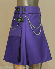 Ladies Blue Drilled Cotton Modern Fashion Utility Kilts with chain