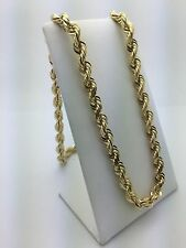 """Men's14K Solid Yellow Gold 24"""" 104.4g 7mm Rope Chain Twist Link Necklace Jewelry"""