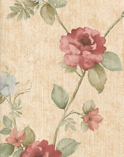 Large Scale Dusty Rose & Light Blue Florals on Leafy Vines Wallpaper   30967220