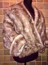 Vintage Mink Stole Glossy Brown Shawl Bolero Style Cape Short