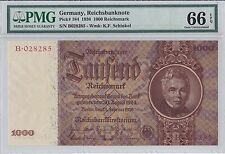 Germany, 1936 1,000 Reichsmark P184 PMG 66 EPQ  ((none finer))