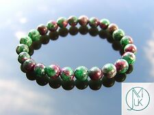 Ruby Zoisite Natural Gemstone Bracelet 7-8'' Elasticated Healing Stone Chakra