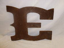 Vtg Big Large Industrial Western Steam Punk Rusty Rustic Metal Letter E Sign 13""