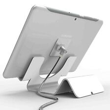 Universal Tablet Holder - iPad Security Stand with Cable Lock - White