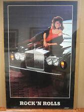 Vintage Rock 'N Rolls 1985 poster hot girl car garage man cave  3625