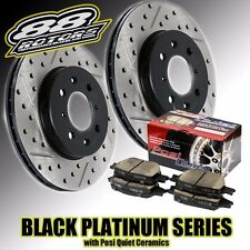 Front Drilled & Slotted Black Platinum Series Rotors & Posi Quiet Pads E36 M3