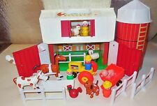 VINTAGE FISHER PRICE LITTLE PEOPLE PLAY FAMILY BARN ANIMAL FARM SILO #2501 LOT