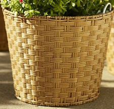 NWT Pottery Barn GLENWILLOW WOVEN ALL-WEATHER-WICKER & GALVANIZED METAL PLANTER