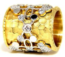 █$7000 1.10CT 14KT DIAMONDS SPANISH GOTH DECO REVIVAL HAMMERED FINISH BAND