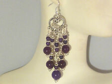 Gemstone Earrings - Russian Amethyst & 925 Sterling Silver - long chandeliers