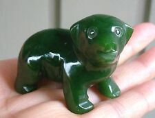 "2"" Canadian Top Grade Jade Carved Dog Puppy Figurine Display"