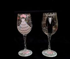 Lolita Wedding 2-Piece 15 ounce Wine Glass Set for Bride and Groom- New in Box!