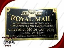 Royal Mail Large Brass 1915-1916 Fresh Data Plate Acid Etched Fits Chevrolet Car