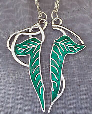 SPLIT Elven Leaf Brooch 2 NECKLACE SET Hobbit LOTR Lord of The Rings FRIENDSHIP