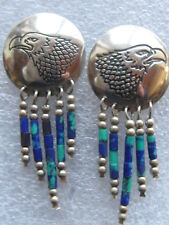 VINTAGE TONY KYASYOUSIE HOPI STERLING SILVER EAGLE EARRINGS  POST BACK