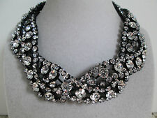 NWT Auth Betsey Johnson Panther Clear Rhinestone Twist Collar Statement Necklace