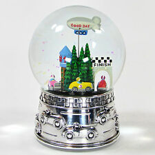 "Reed & Barton RACE CAR 6.5"" Water Globe 6207 MIB Star Spangled Banner Silver"