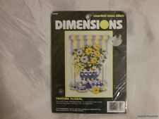 NEW Rare 1990s DIMENSIONS Counted Cross Stitch Kit Yellow & Navy TEATIME FLORAL