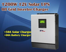 12v 1200w pure sine wave solar inverter + Solar charger 50A battery charger 60A