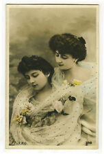 c 1907 Lovely Young Lady BEAUTY PAIR glamor photo postcard