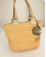 Authentic Coach Straw Flower Leather Tote Shopper Shoulder Bag Handbag  Purse