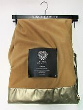 Vince Camuto Faux Fur Throw Blanket Tan Beige Faux Leather Gold  50 X 60 NWT