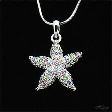 Starfish Asteroidea Sea Ocean Pendant Necklace Charm Crystal Multicolor Jewelry