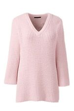 Lands End Lofty Cotton Textured V-neck Jumper Pink Size M Box4684 J