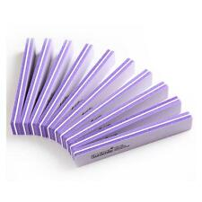 10pcs Purple Nail Art DIY 100/180 Washable Buffer Sponge Sanding Buffing File
