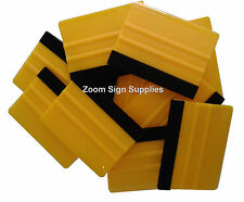 10 x PRO FELT EDGE YELLOW SQUEEGEES VINYL DECAL WRAPPING APPLICATION TOOL