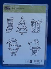 Stampin' Up! Color Me Christmas Tree Santa Reindeer Gift Set of 5 Stamps NIB