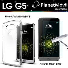FUNDA SILICONA TRANSPARENTE TPU + PROTECTOR VIDRIO CRISTAL TEMPLADO LG G5