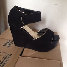 Black Gold Piping Platform Wedge size US 6.5 EU 37